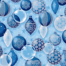 Blue Christmas Ornaments, Silver Metallic, Winter's Grandeur 5 (By 1/2 yd)