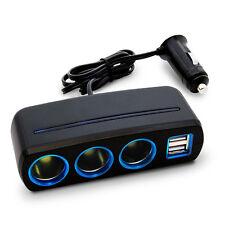 3 Way Car Charger Splitter Cigarette Lighter Socket Power 2 USB Port 12V Adapte