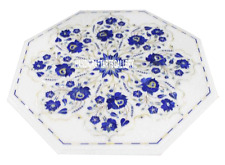"12"" Marble Coffee Table Top Lapis Lazuli Inlay Furniture Christmas Gifts H3060"