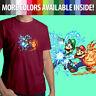 Super Mario Bros Luigi Power Up Fireball Nintendo Unisex Mens Tee Crew T-Shirt