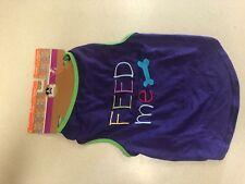 Bachako Dog T-Shirt Feed Me Purple Large New