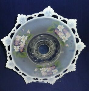 """Mosser Glass (White Opalescant) 11 1/4"""" CAKE STAND Hand painted Signed Artist"""