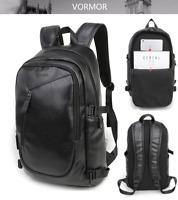 Men's Leather Travel Large Shoulders Bag Laptop Backpack Computer Notebook