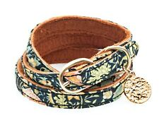 CINDERELA B Leather Double Wrap Liberty Bracelet RRP £60 Gold Plate Coin Charm