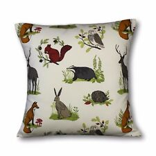Cushion cover in Clarke & Clarke Dunham fabric, Foxes, Hare, Deer, Owl, Squirrel