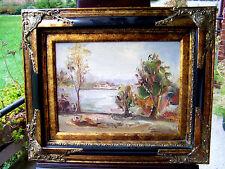 Landschaftsbild gemalt in Spachteltechnik - Bäume, See und Bauernhof