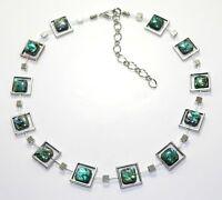 Halskette Kette Abalone Paua Muschel umrahmt von Metallrahmen Würfel Glas 365b