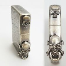 Zippo Lighter ROCK CHI SA SILVER Skull Emblem Brass Antique Classic Windproof