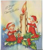 VINTAGE CHRISTMAS ANGELS CANDLE HOLLY BERRIES EMBOSSED MID CENTURY GREETING CARD