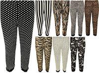 New Womens Plus Size Lace Animal Striped Print 3/4 Ladies Short Leggings 12 - 30