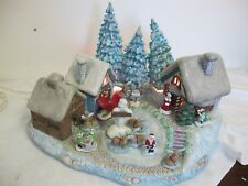 VINTAGE LIGHTED  LARGE CERAMIC VILLAGE CHRISTMAS   HOUSES TREES FIGURES SCIOTO