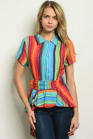 New Colorful USA Boho Boutique Stripe Hi-Low Western Tie Back Tunic Blouse S-L