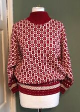 Vintage Pepper Knits Red And White Knitted Jumper Retro Small Medium