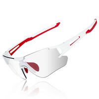 ROCKBROS Photochromic Cycling Rimless Sunglasses Eyewear UV400 Goggles White Red