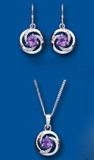 Diamante y Amatista Set Colgante y Pendientes Plata Maciza De Ley