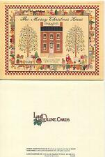 VINTAGE CHRISTMAS HORSE SLEIGH DOG VILLAGE TREE SNOW WINTER MOTTO 1 HOUSE CARD