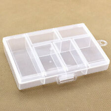 Portable Plastic 6-Compartment Storage Container Small Case Box Transparent