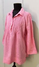 Immaculate Size 14 Meredith Pink Linen Blouse- 58cm Bust