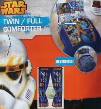 STAR WARS REBELS ANIMATED BLUE TWIN COMFORTER SHEETS DRAPES 5PC BEDDING SET NEW.