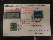 1930 Gothenburg Sweden First Flight cover FFC to Königsberg Germany Via Berlin