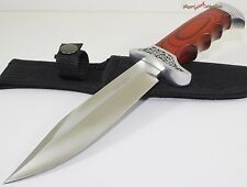 "10.25"" Full Tang Wood Finger Grooved Hunting Skinning Bowie Fixed Blade Knife"