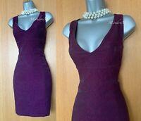 Karen Millen UK 10 Purple Metallic Jacquard V Neckline Cocktail Mini Dress EU 38