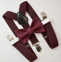 Kids Boys Mens Dark Wine Suspenders & Dark Burgundy Bow tie Infant - ADULT SET