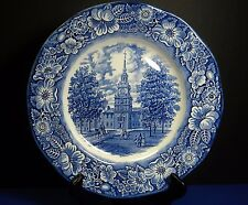 "Liberty Blue Staffordshire China England 1 9 3/4"" Dinner Plate Independence Hall"