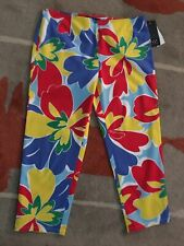 David Meister Colorful Floral Cotton Stretch Crop Pants 8 NWTs $190.00