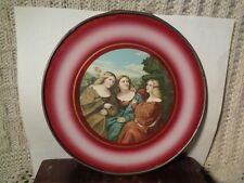 Victorian ROUND GLASS Flue Cover WALL HANGING 3 sisters women LITHOGRAPH pewter