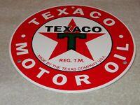 "VINTAGE TEXACO MOTOR OIL 7.5"" PORCELAIN METAL LUBESTER GASOLINE SIGN! PUMP PLATE"