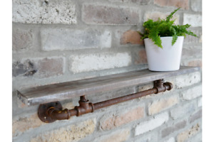 Small Floating Wall Shelf Industrial Vintage Rustic Style Storage Pipe