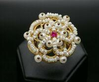 anello grande da donna stile antico rubino perle argento 925 GIOIELLO ITALIANO