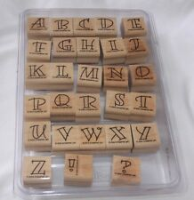 Stampin' Up! Alphabet Letter Set Wood Mounted Rubber Stamp Retired
