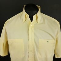 Lacoste Mens Vintage Shirt MEDIUM Short Sleeve Yellow Regular Fit Cotton