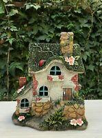 "Miniature FAIRY GARDEN Gnome ~ 9"" Mini Cottage House with Solar Light"