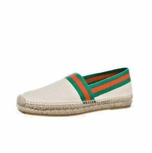 GUCCI Alejandro Men's Beige Canvas Web Espadrilles Shoes 7 NIB