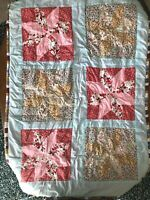 Homemade Handmade 8 Point Star Quilt Crib Blanket Throw