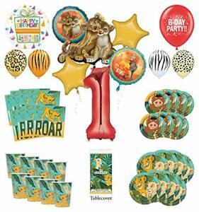 Lion King 1st Birthday Party Supplies 16 Guest Decoration Kit with Simba, Nal...