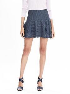 NEW Banana Republic Womens Linen Flounce Mini PinStripe Skirt Navy 4 6 S 10 $88