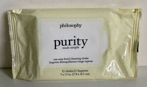 NEW! PHILOSOPHY PURITY MADE SIMPLE ONE-STEP FACIAL CLEANSING CLOTHS WIPES SALE