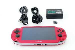 Sony PS Vita PCH-1000 Red OLED Wi-Fi Model w/ Charger From Japan [Excellent +]