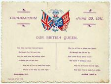1911 Coronation Card Souvenir King George V Queen Mary Westminster Abbey