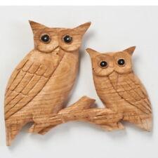 Buho de madera tallada a mano en Rama Pájaros Búhos Placa de pared imagen Art Fair Trade
