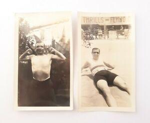 2 VTG 1920s Shirtless Man Muscle Pose & On Beach Original Photo Gay Interest