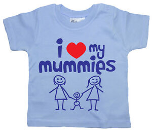 "Baby LGBT T-Shirt ""I Love My Mummies"" Girl Boy Tee Gay Lesbian Pride Gift"