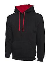 "2 X Uneek Contrast Hooded Sweatshirt Unisex Two Tone Hoodie Sweater (uc507) 4xl 54"" Black / Red"