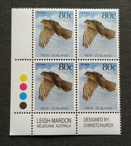 1993 New Zealand Birds of Prey Falcon 80c xB4 Stamps MNH (colour & imprint tabs)