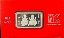 Silver Lakshmi Ganesh Ji Note Bar Coin 20 gms 999 Kundan Nabl Certified Fine