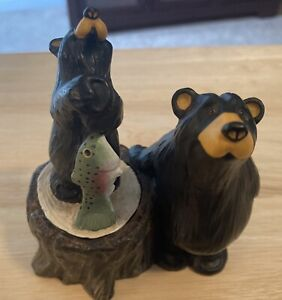 2000 Kritter Hollows Big Sky, Bears w/ Fish~trinket box